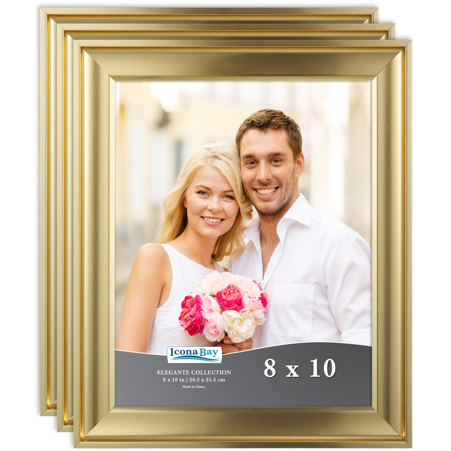 Icona Bay 8x10 Picture Frame (3 Pack, Gold), Gold Photo Frame 8 x 10, Wall Mount or Table Top, Set of 3 Elegante Collection