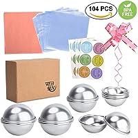 Websun Metal Perfect DIY Bath Bomb Molds Kit with 3-Set Sizes 12 Pieces 104 Pcs