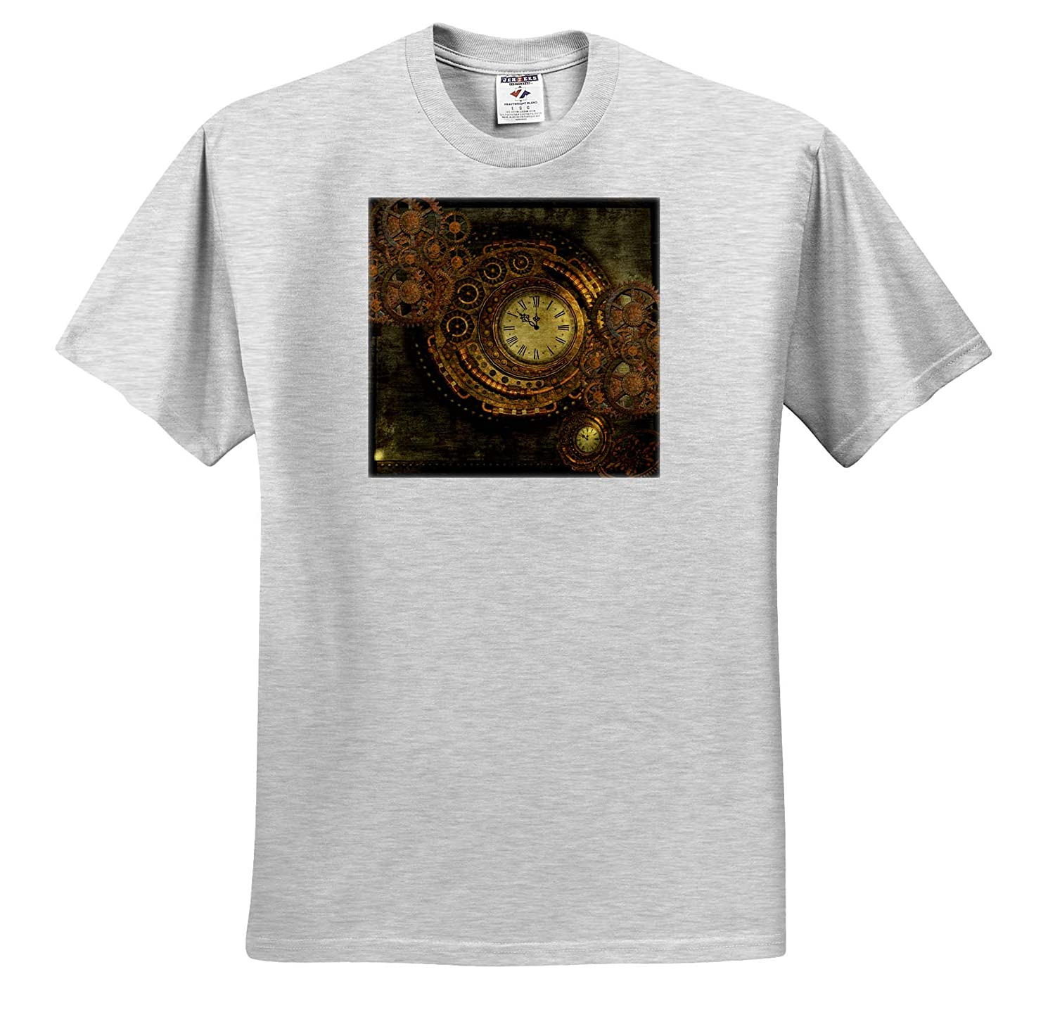 3dRose Heike K/öhnen Design Steampunk Steampunk Design Golden Colors T-Shirts Wonderful Clockwork