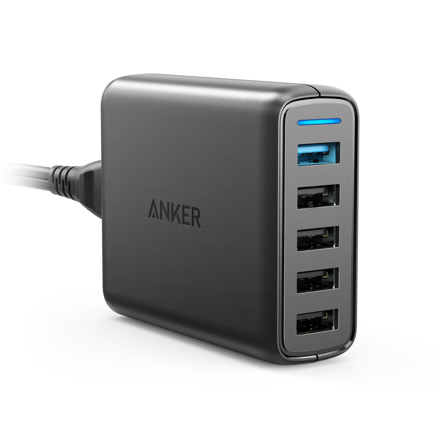 Anker Quick Charge 3.0 51.5W 5-Port USB Wall Charger, PowerPort Speed 5 for Galaxy S10/S9/S8/edge/Plus, Note 8/7, LG G4/G5, HTC One M9/A9, Nexus 9, with PowerIQ for iPhone Xs/Max/XR/X, iPad, and More by Anker