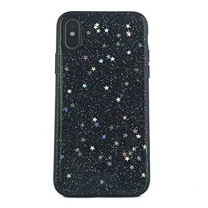 watch 59695 f2a46 NCX tech iPhone X Case, Shockproof Anti-Scratch Hybrid Protective Cover  with Glitter Star Metallic Foil for iPhone X (Black)