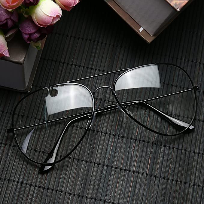 525fcc2f970 BZ327 Clear Lens Glasses Metal Plain Glass Spectacles UV400(Bright black)   Amazon.in  Clothing   Accessories
