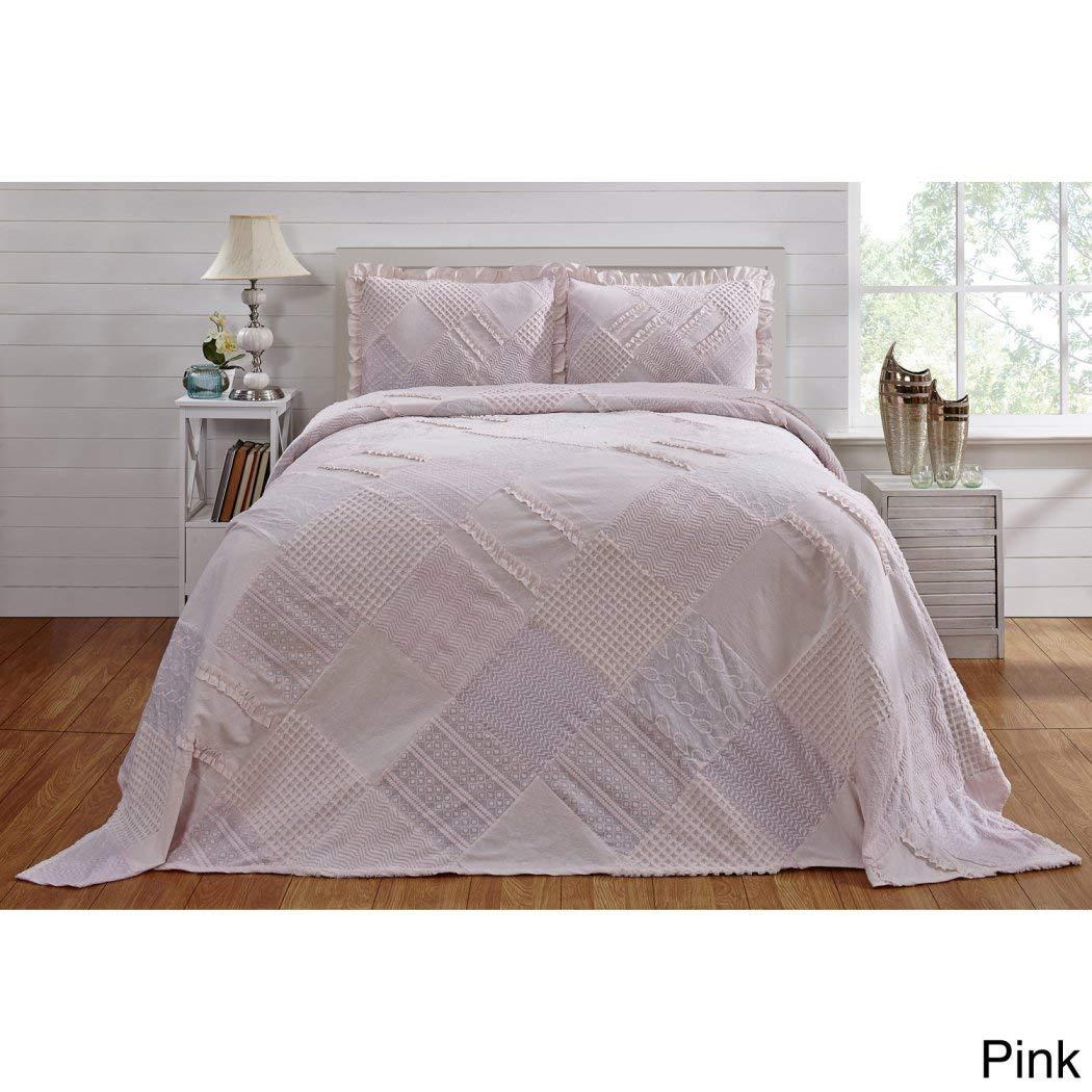 1ピースピンクOversizedシェニール織Bedspreadフル、幾何パッチワークPlaid Extra Long Wide寝具Drapes Overエッジドロップダウンする床のOversize、Squared Trellis Weaves刺繍カット、コットン B077BCW6QH