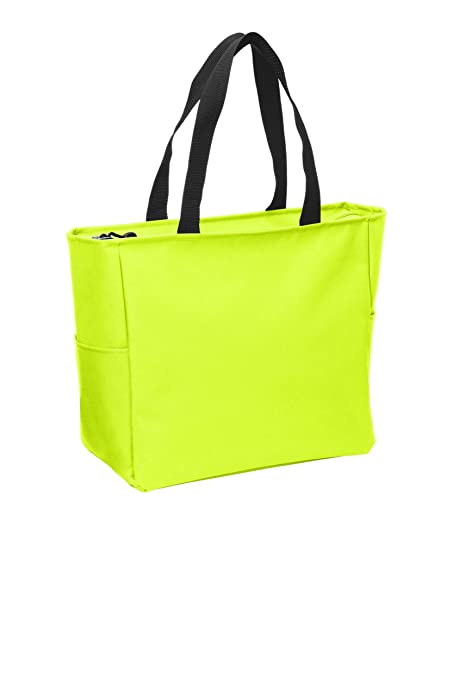 de714a49f Amazon.com: Essential Zip Tote Polyester Canvas Tote Bag with Zipper Top  Closure and Two end pockets (1, Safety Yellow): Kitchen & Dining