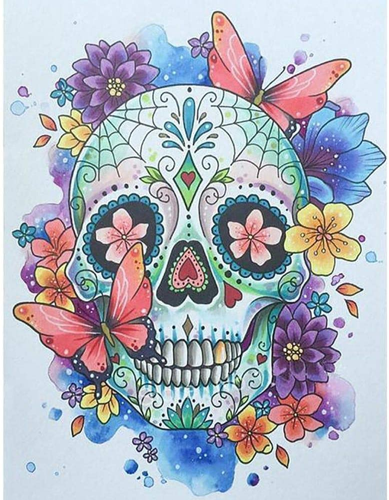 5D DIY Diamond Painting by Number Kits,Full Drill Crystal Rhinestone Diamond Embroidery Paintings Arts Decor Butterfly Skull 11.8x15.7in 1 Pack by Aimerson