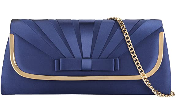 Vintage & Retro Handbags, Purses, Wallets, Bags Grace Angel Large Satin Bow Front Evening Handbag Flap Clutch Bag With Crossbody Chain Strap GA16678 $46.00 AT vintagedancer.com
