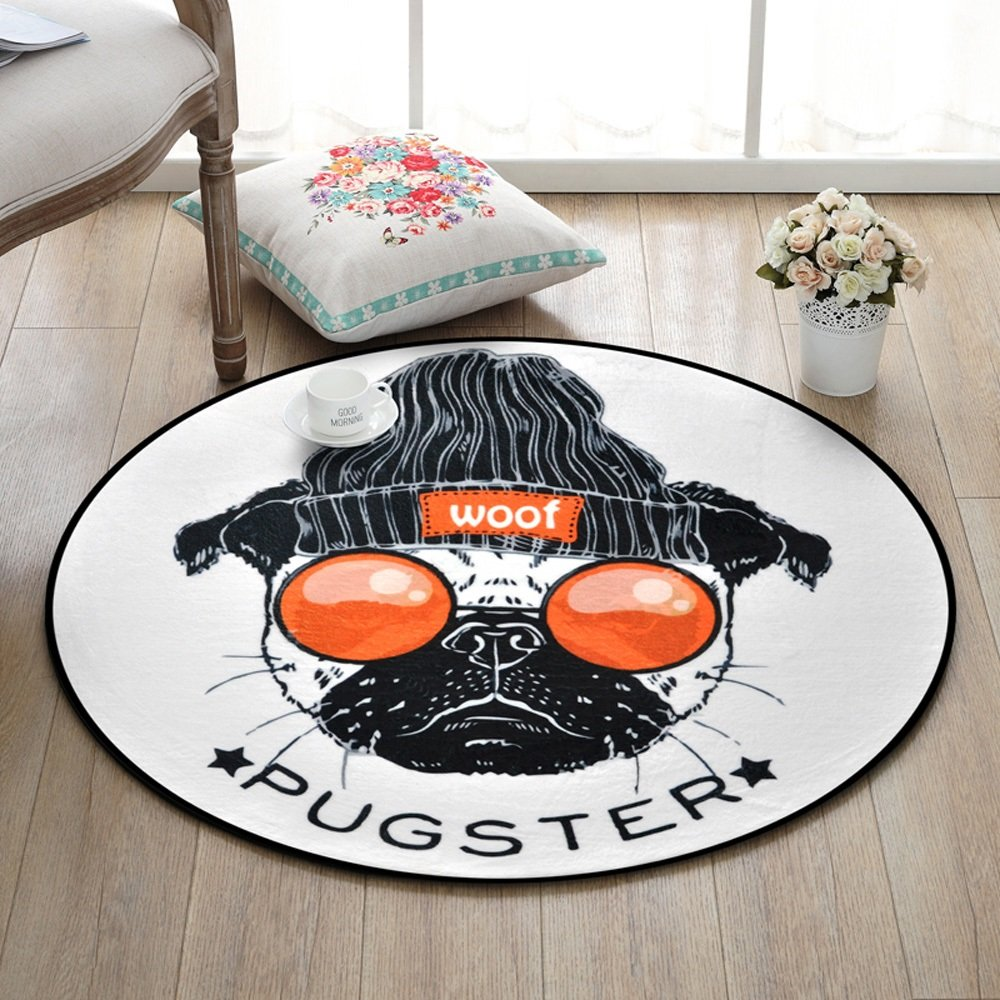 Fashion Animal Pattern Carpet Creativity Non-Slip Round Floor Mats Bedroom Kids Room Computer Chair Bathroom Blanket ( Size : 150150cm-a )