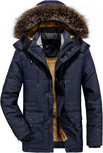 Mens Fleece Lined Hooded Parka Jacket Fashion Thicken Quilted Coat Outwear