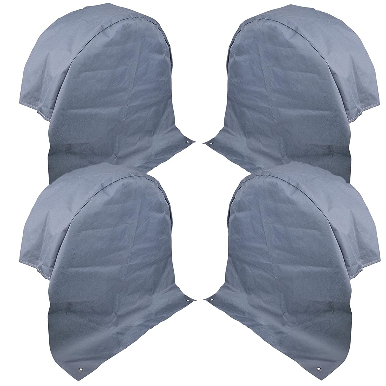 4 x Caravane radabdeckung Tissu Polyester Gris Protection UV avec œ illets Ancre Pat