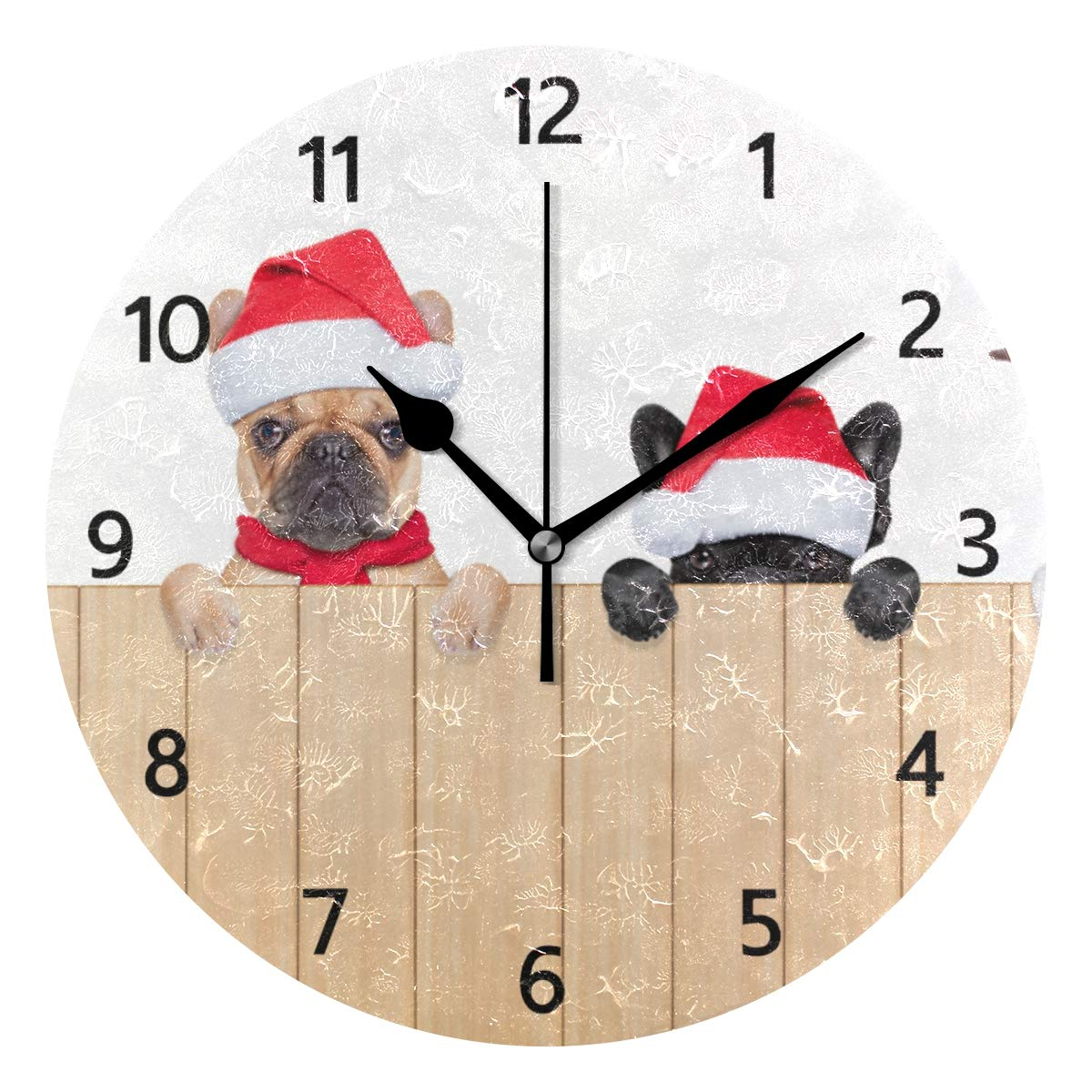 MERRYSUGAR Silent Wall Clock Non Ticking Cute Funny Dog Pug Christmas Oil Painting Round Clock for Home Office School Decorative Clock Home Decoration