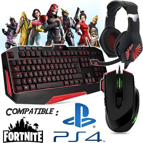 Pack gamer teclado, ratón, casco y alfombra compatible con Fortnite PS4