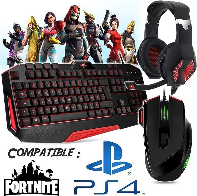 Pack gamer teclado, ratón, casco y alfombra compatible con ...