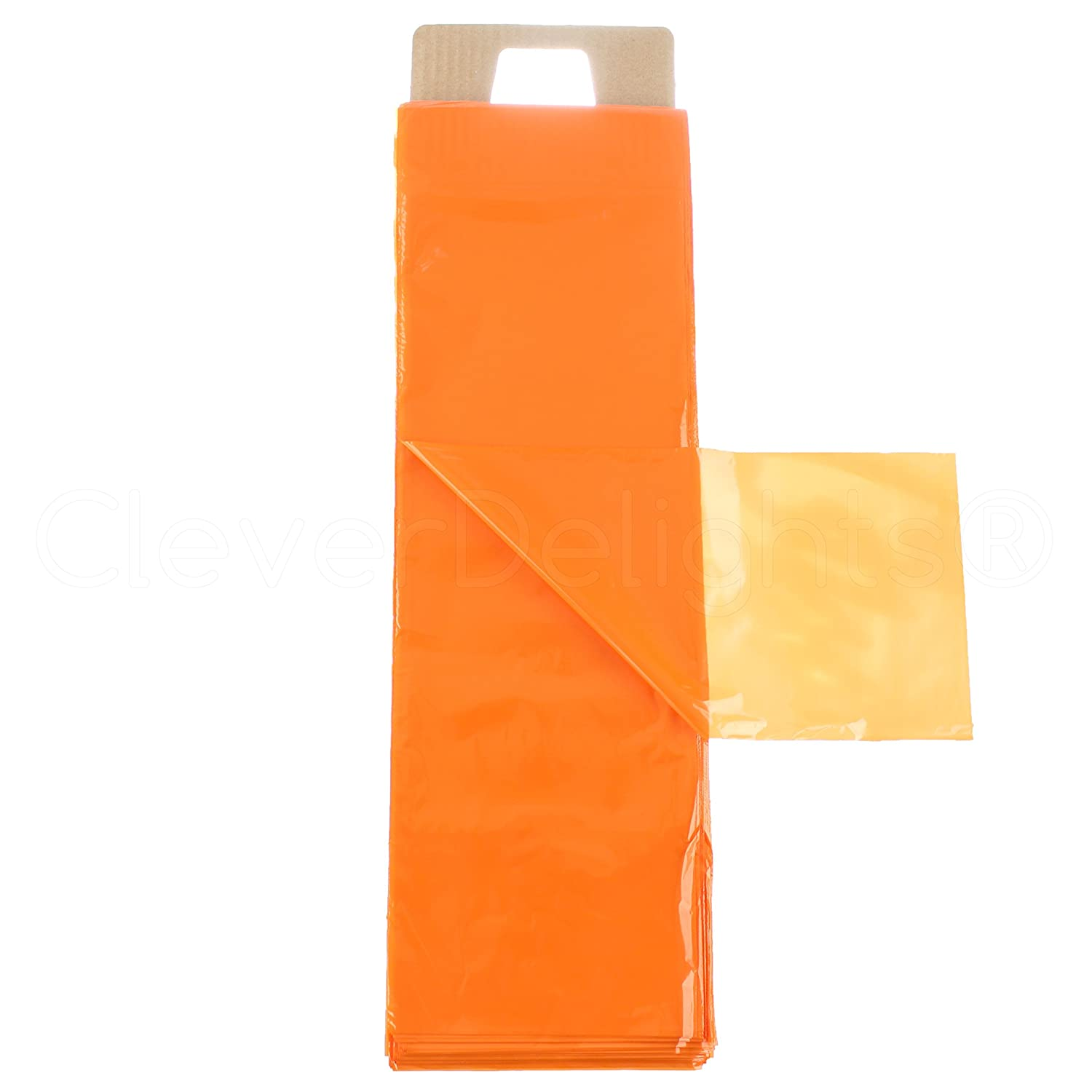 100 Pack - CleverDelights Orange Newspaper Bags - 6