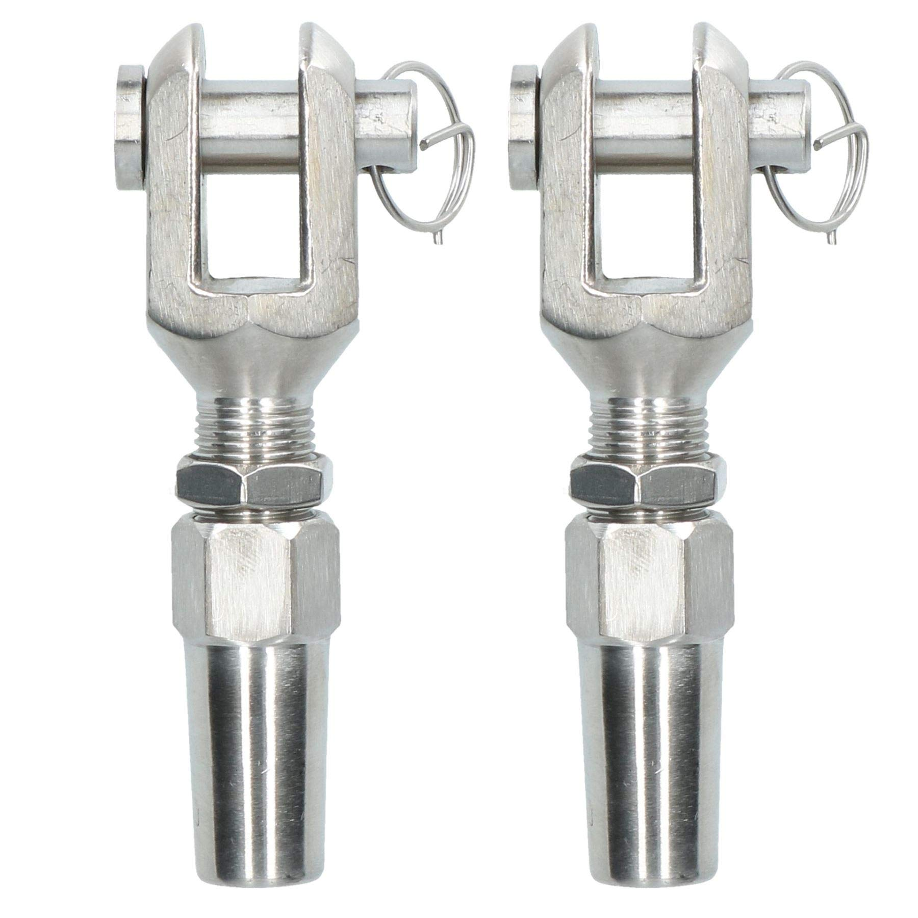 AB Tools-Deacon 6mm Wire Cable Rope Jaw Rigging Terminal Swageless DIY Fitting Stainless 2 PK by AB Tools-Deacon