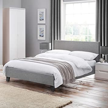 Grey Fabric Bed Happy Beds Rialto Light Grey Upholstered