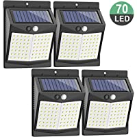 CLAONER 70 Led Solar Lights Outdoor with PIR Motion Sensor - 4 Pack Deck Garden Lights- Wireless Security Night Light, Ip65 Waterproof Wall Mount Step Fence Post Light for Garage/Yard/Porch/Fence/Pathway