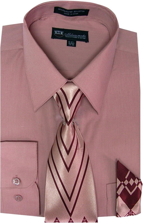 Milano camisa de Hombre de manga larga con corbata y pañuelo a juego - -: Amazon.es: Ropa y accesorios