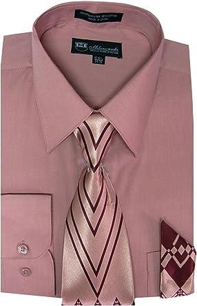 Milano camisa de Hombre de manga larga con corbata y pañuelo a juego - -