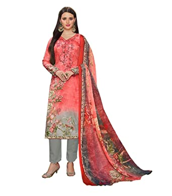 480580003e Madeesh Pakistani Suits for Women, Glaze Cotton Neck Embroidery Printed  Top, Party Wear, Semi Lawn Bottom, Printed Silver Chiffon ...