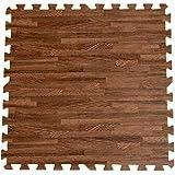 タンスのゲン 6畳用 32枚組 木目調ジョイントマット 大判 60cm 床暖房対応 ノンホルムアルデヒド サイドパーツ付き ブラウン AM 000069 BR
