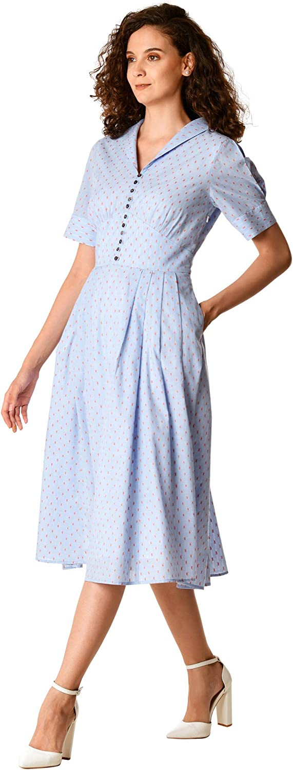 1940s Day Dress Styles, House Dresses eShakti FX Dot Cotton Banded Empire Dress- Customizable Neckline Sleeve & Length $59.95 AT vintagedancer.com