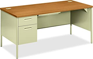 "product image for HON Metro Classic Laminate Office Desk - Left Pedestal Desk with File Drawer, 66"" W, Harvest/Putty (HP3266L)"