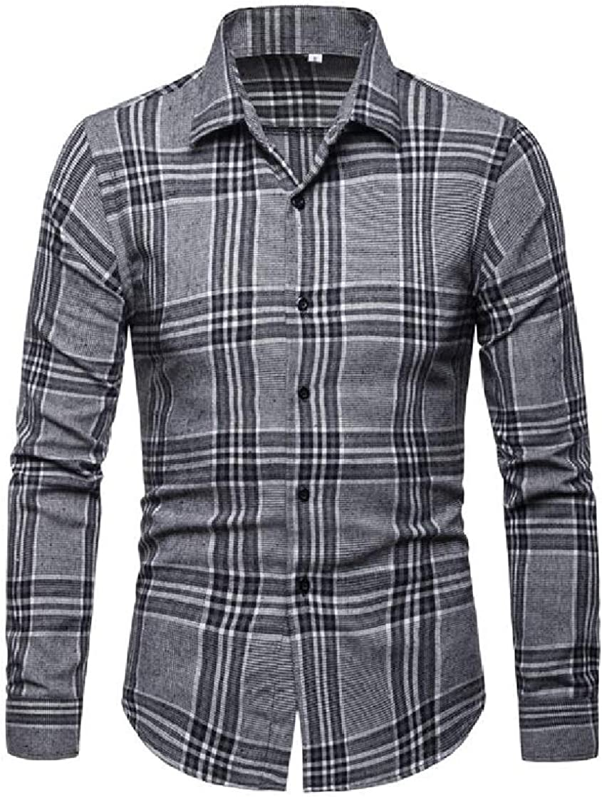 YUELANDE Men Long Sleeve Business Plaid Casual Button Down Shirt Tops