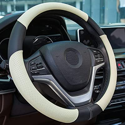 Achiou Microfiber Leather Auto Car Steering Wheel Cover Universal 15 inch, Comfortable to Grip, Breathable and odourless, Safeguard to Your Trip: Automotive