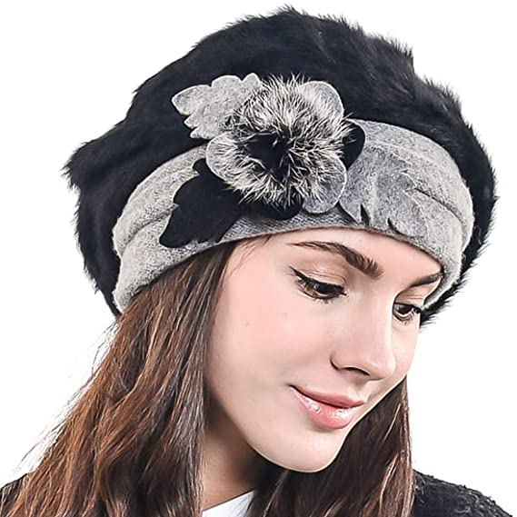3641a1dc66b Women Classic French Artist Wool Beret Angora Beanie Winter Hat BR022  (Black)(Size  M)  Amazon.co.uk  Clothing