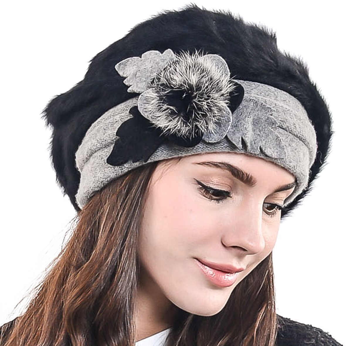 F&N STORY Lady French Beret Wool Beret Chic Beanie Winter Hat Jf-br034 (BR022-Black Angora)