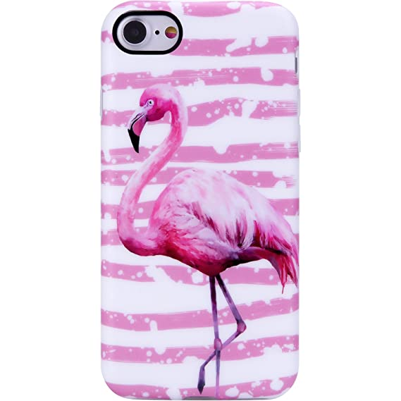 new style d6e10 ac634 VIVIBIN iPhone 7 Case,iPhone 8 Case,Cute Pink Flamingo for Women Girls  Clear Bumper Soft Silicone Rubber Matte TPU Best Protective Cover Slim Fit  ...