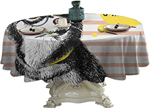 Alaskan Malamute Food Round Tablecloth Retro Design Cute Hipster Husky with Glasses Saying Hello Sketch Artwork Outdoor Picnics 36 inch
