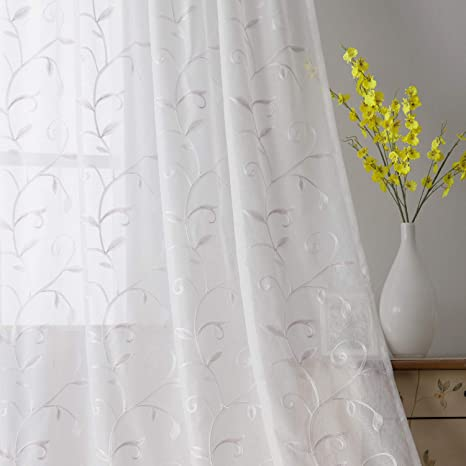 Lot 2 curtain sheer A paw white Deco embroidery pink Fuchsia 60 x 155 pair curtains embroidered ready to ask