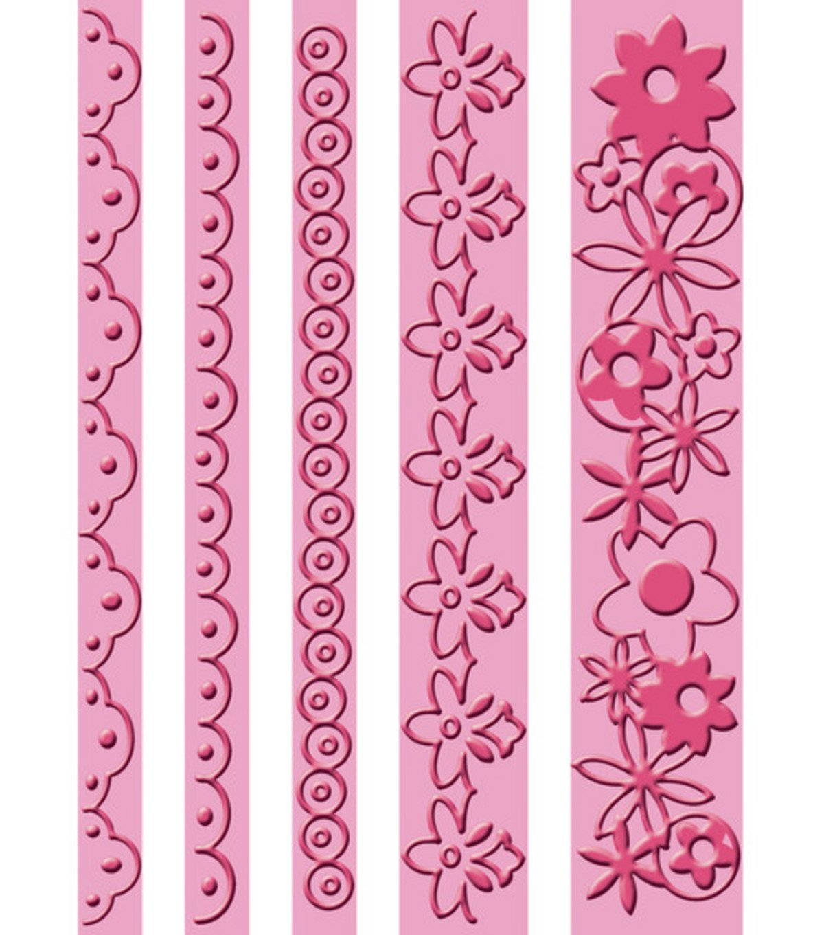 Unbekannt Cricut Cuttlebug Prägeschablone, Rüschen-Bordüren, 10,8x14cm Rüschen-Bordüren 8x14cm 37-1172