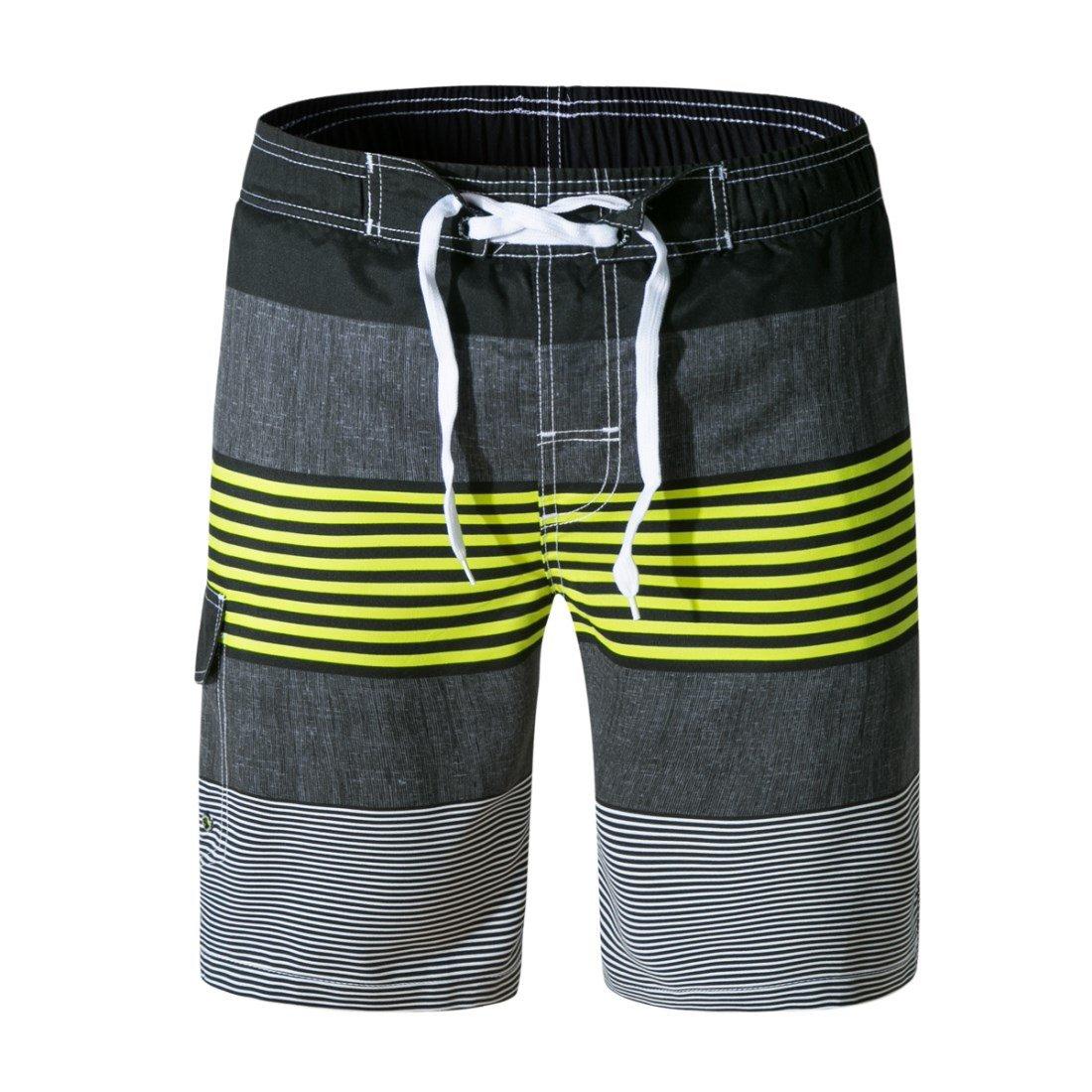 LJCCQ Men\'s Swim Trunks Quick Dry Stripe Board Shorts with Pockets Swim Shorts Beachwear with Drawstring