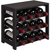 OROPY 3 Tier Wooden Wine Rack Countertop, Free Standing Countertop Wine Storage Shelf, Hold 12 Bottles, for Kitchen Bar Dinin