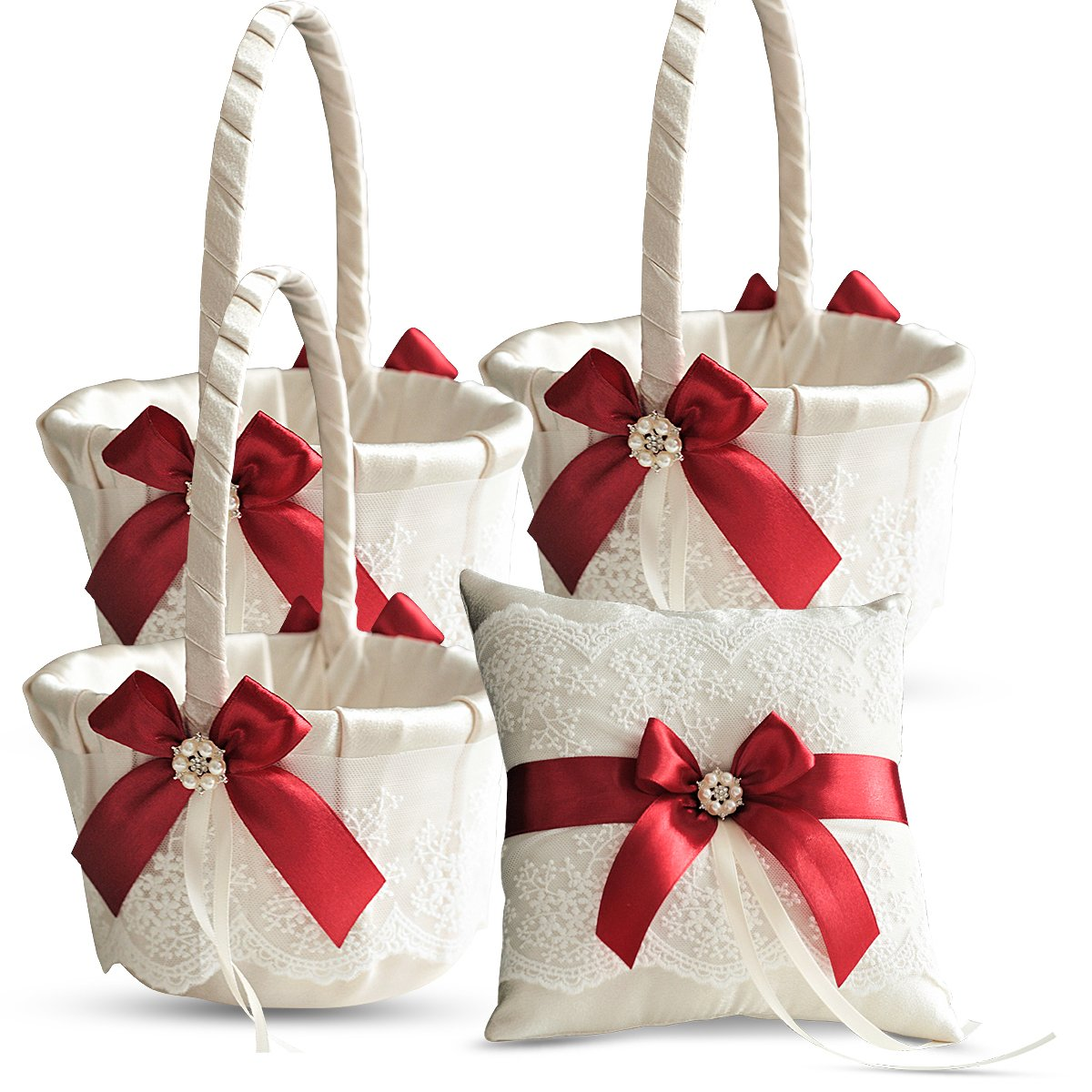 Roman Store Ivory Ring Bearer Pillow and Basket Set | Lace Collection | Flower Girl & Welcome Basket for Guest | Handmade Wedding Baskets & Pillows (RED)