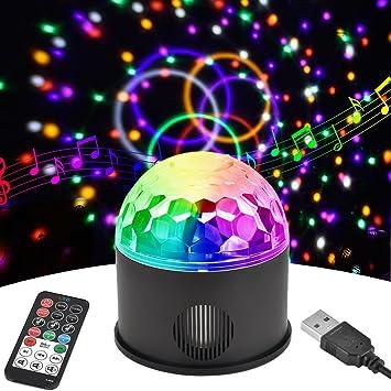 Discokugel LED Party Lampe Disco Lichteffekte Discolicht mit 1,4M USB  Kabel, 9 Farbe RGB Partylicht mit Fernbedienung für Kinder Partei ...