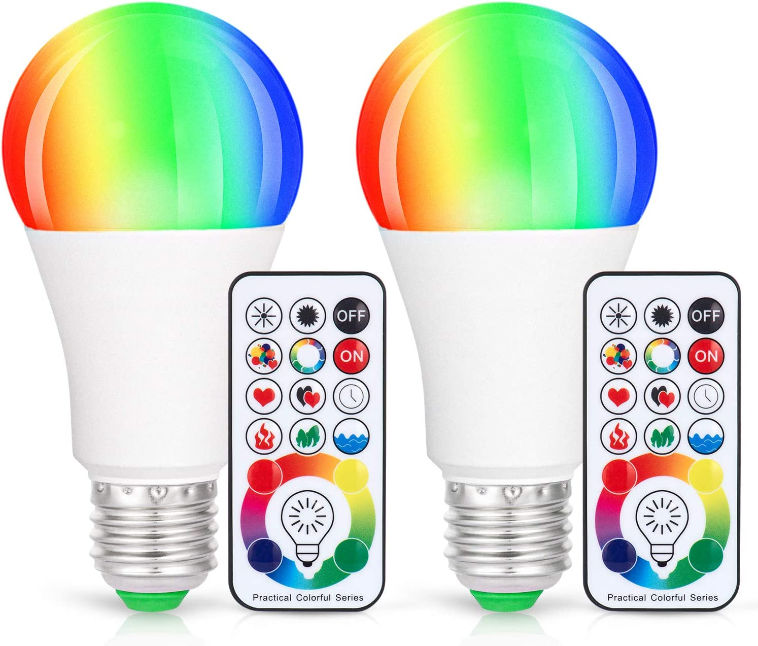 LED Light Bulbs, 2 Pack Dimmable E26 LED Light Bulb, 10W RGBW Color Changing Light Bulb with Remote Control, Decorative Lights, Mood Light Bulb, Great for Home Decor, Stage, Party and More