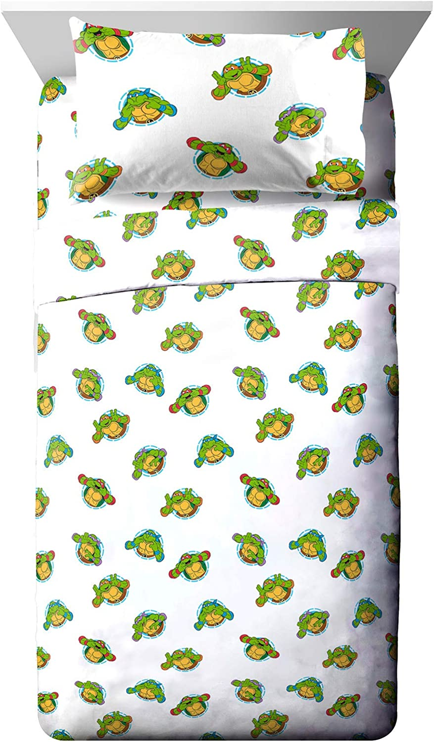 Nickelodeon Teenage Mutant Ninja Turtles Silly Green Toddler Sheet Set - 3 Piece Set Super Soft and Cozy Kid's Bedding - Fade Resistant Microfiber Sheets (Official Nickelodeon Product)