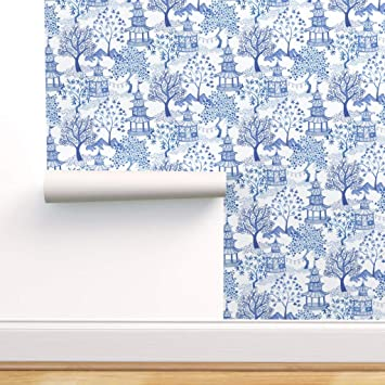 Spoonflower Peel And Stick Removable Wallpaper Chinoiserie Blue And White Blue Willow Toile Pagoda Chinese Print Self Adhesive Wallpaper 24in X 108in Roll Amazon Com