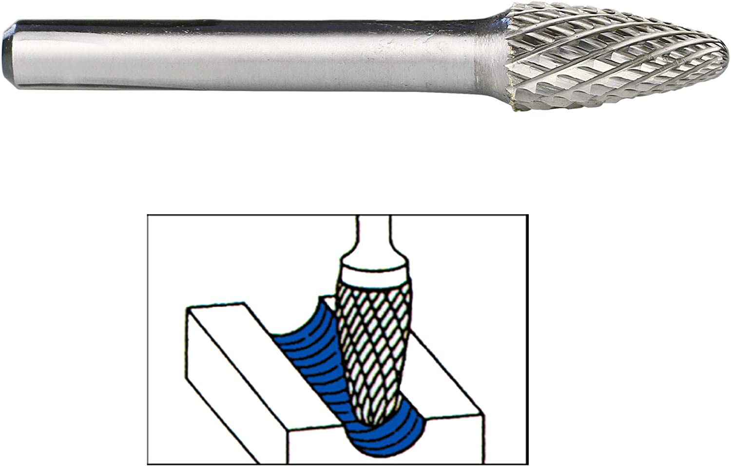 """Cylindrical with 1//4/"""" Shank Metal Carving Drilling Polishing File for Die Grinder DLtools SA-3 Double Cut Tungsten Carbide Rotary Burr Bit"""