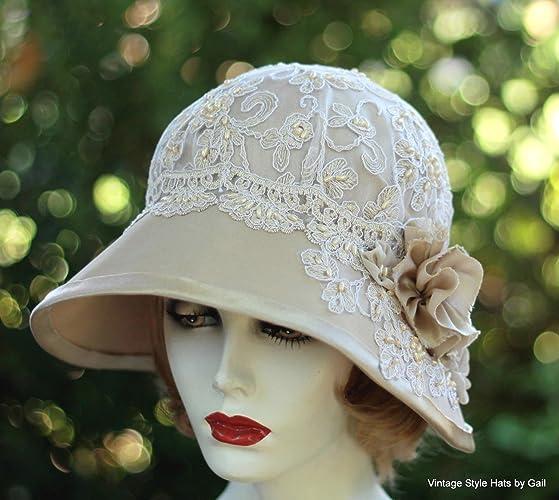 Amazon.com  Womens Vintage 20s Style Fancy Formal Wide Brim Cloche Hat for  Summer  Handmade 515eea51ebe