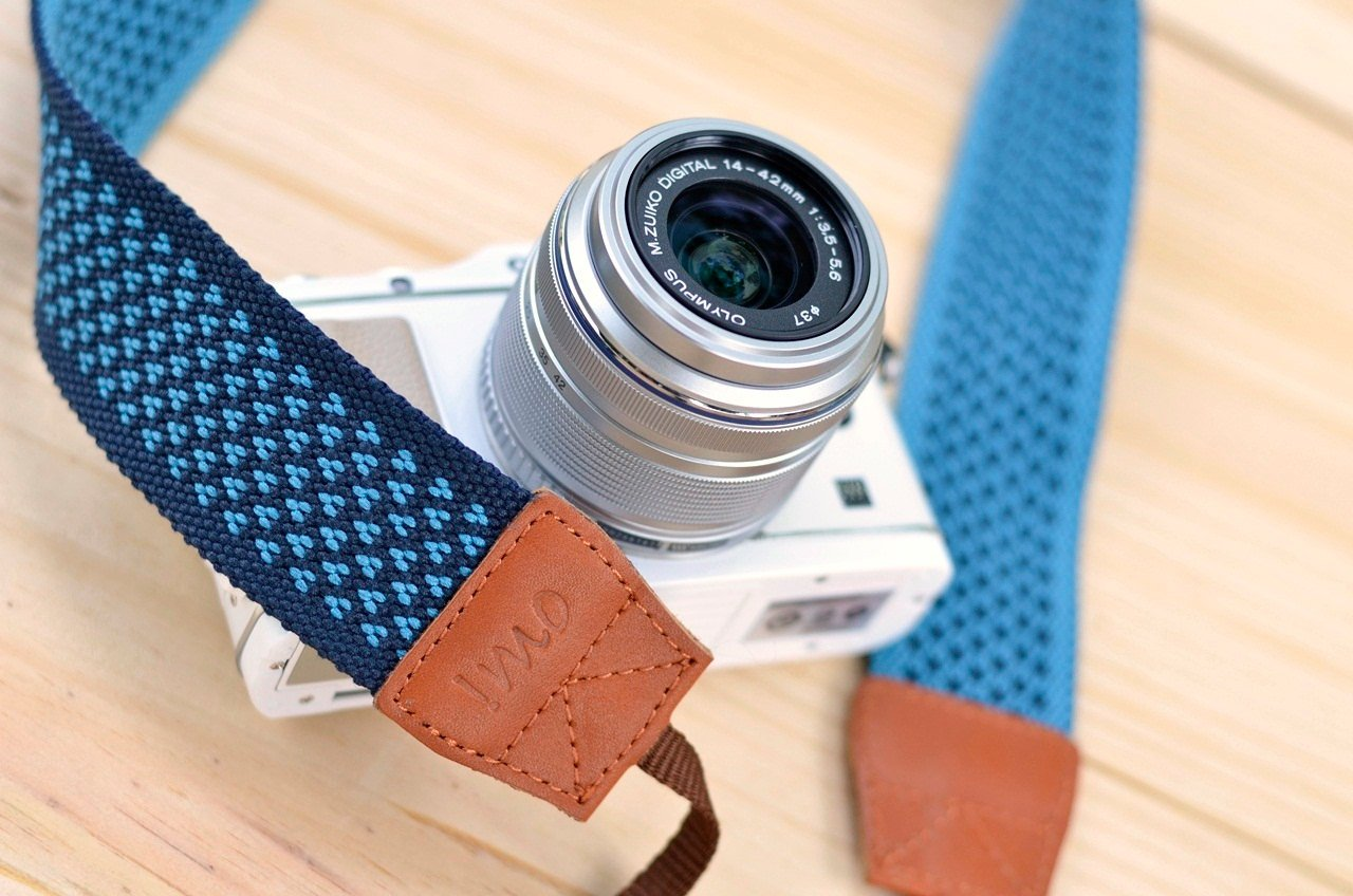 Omi algodón correa de cámara réflex Digital - azul diseño de ...