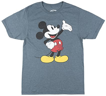 6e9e6f1f Hybrid Disney Mickey Mouse Palm Up Men's Distressed Graphic Tee T-Shirt  Small