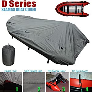 Seamax Inflatable Boat Cover, D Series for Beam Range 5.8' to 6.4' (FEET), 5 Sizes fits Length 12.2' to 16.5' (FEET)