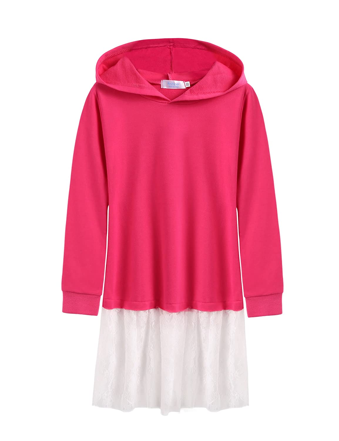 Arshiner Girl's Casual Long Sleeve Sweatshirts with Hoodie, Watermelon Red 110 ASS005236_WRE_110