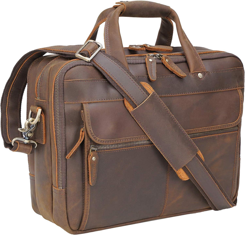 "Texbo Retro Italian Leather Briefcase for Men 15.6"" Laptop Messenger Bag Attaché Case Fit Business Travel"