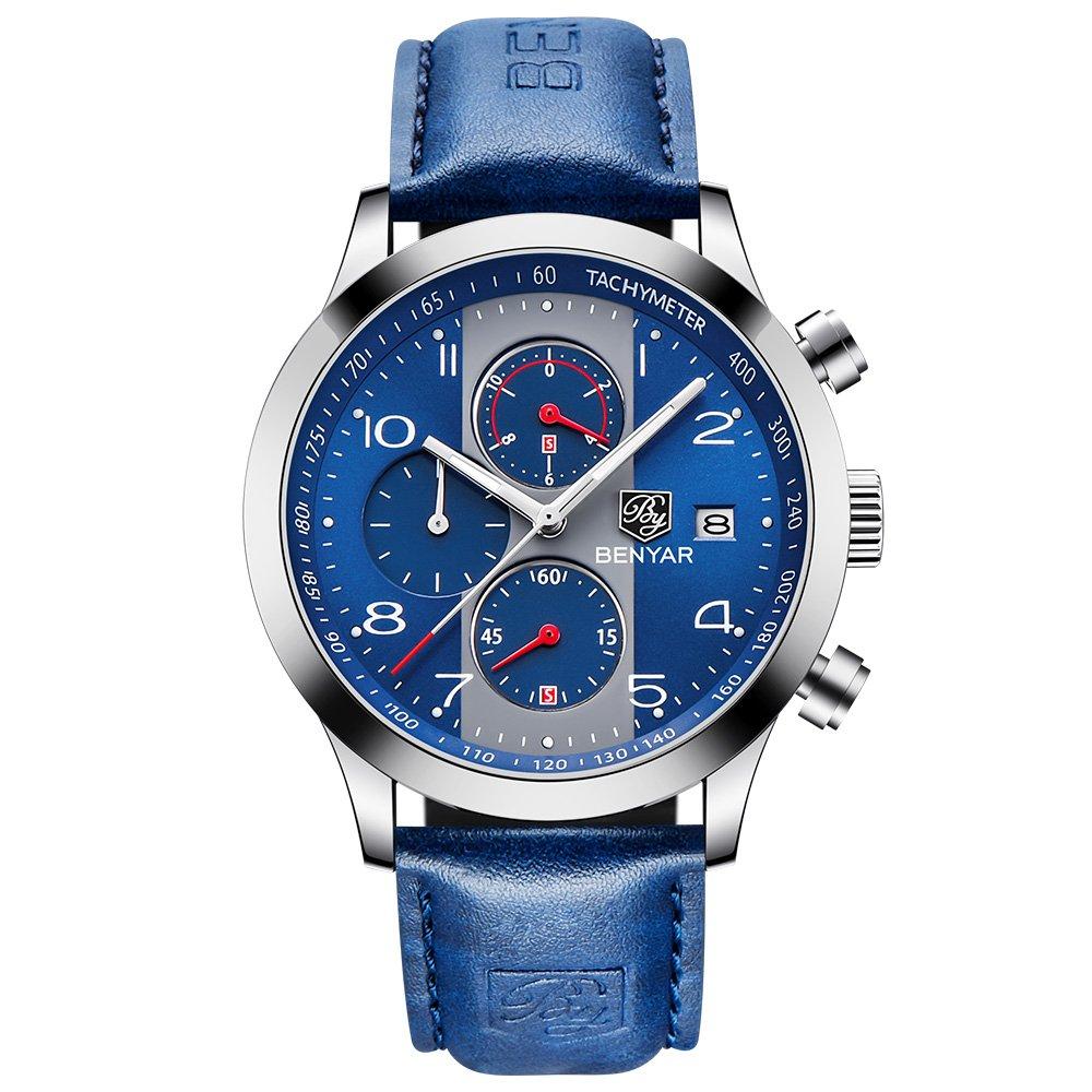 BENYAR Fashion Watches Quartz Chronograph Waterproof Blue Casual Sport Wrist Leather Band Watch For Men (Blue)