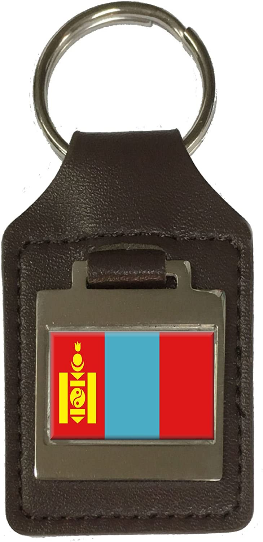 Leather Keyring Engraved Mongolia Flag